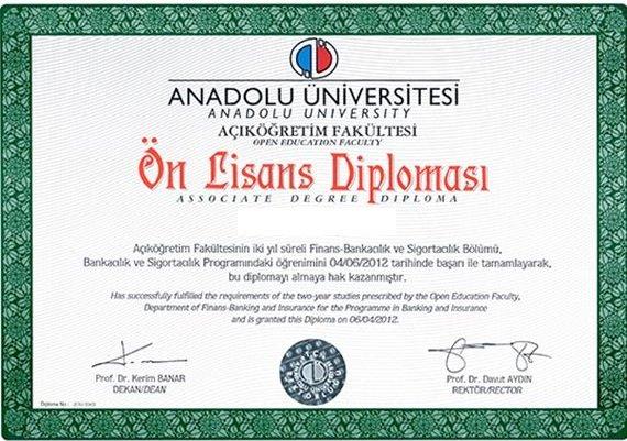 Açıköğretim Bankacılık ve Sigortacılık Diploması