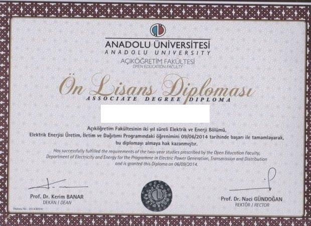 Açıköğretim elektrik enerjisi uretim, iletim ve dagitim Diploması