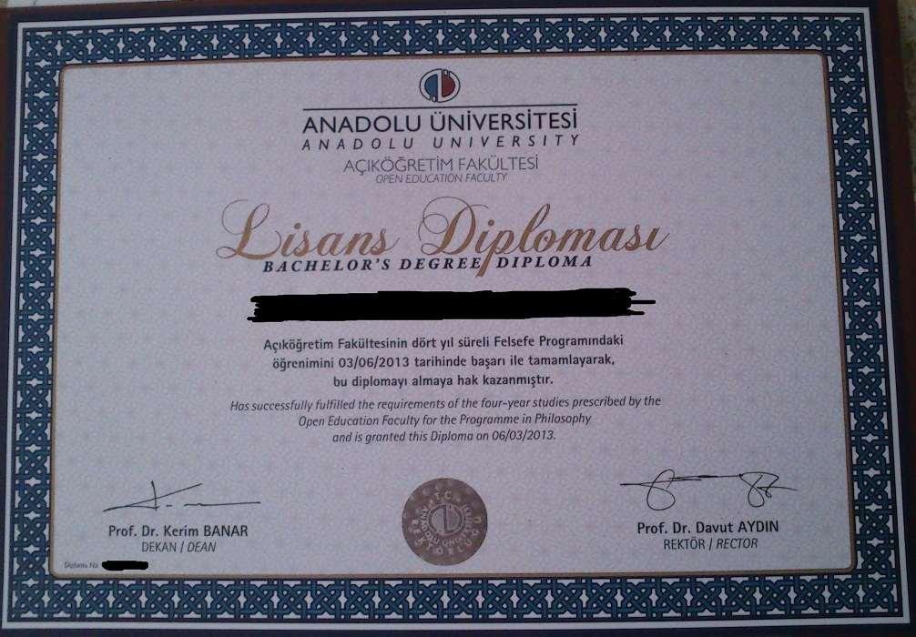 Açıköğretim Felsefe Diploması
