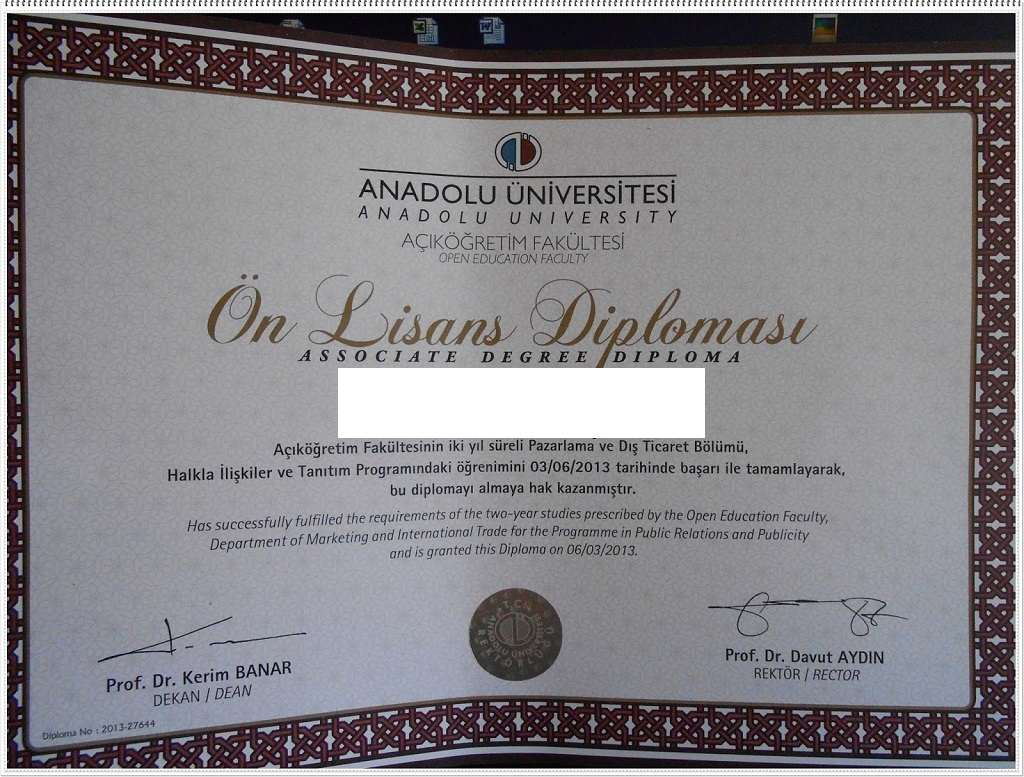 Açıköğretim Halkla İlişkiler ve Tanıtım Diploması