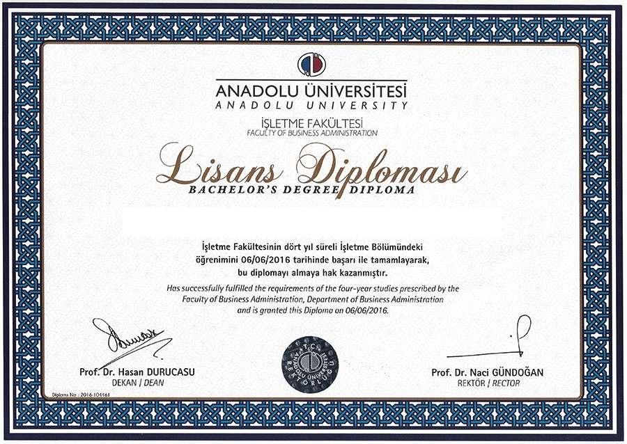 Açıköğretim İşletme Diploması