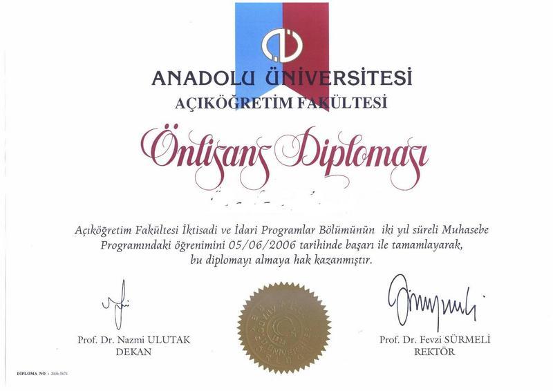 Açıköğretim Muhasebe Diploması