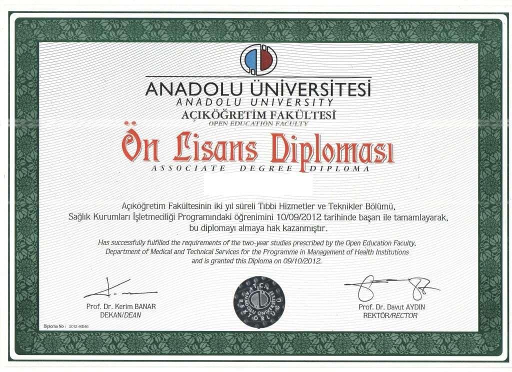 Açıköğretim Sağlık Kurumları İşletmeciliği Diploması