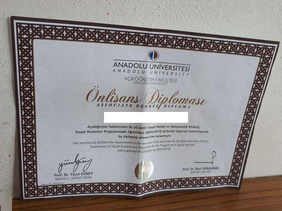 Açıköğretim Sosyal Hizmetler Diploması