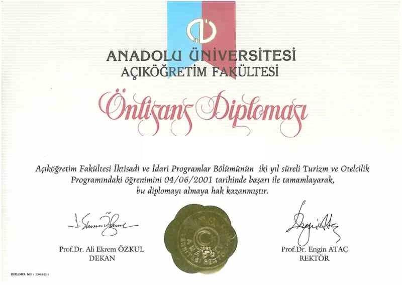 Açıköğretim Turizm ve Otelcilik Diploması