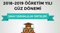 Açıköğretim 2018 – 2019 Arasınav Sorumluluk Üniteleri