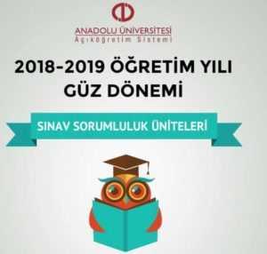 Açıköğretim 2018 - 2019 Arasınav Sorumluluk Üniteleri