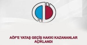 2019 - 2020 Aof Yatay Geçiş Hakkı Kazananların Listesi
