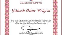 Açıköğretim Yüksek Onur ve Onur Belgesi Örnekleri