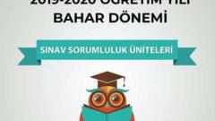 Açıköğretim 2019 – 2020 Bahar Dönemi Arasınav Sorumluluk Üniteleri