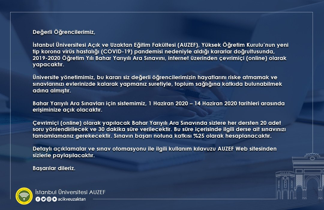 İstanbul Üniversitesi Açıköğretim Sınavları Online Olacak