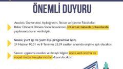 Anadolu Üniversitesi Bahar Dönemi Final Sınavlarını Online Yapacak