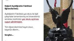 Atatürk Üniversitesi Yaz Okulu Açma Kararı Aldı