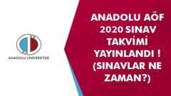 Açıköğretim 2020 – 2021 Sınav Takvimi
