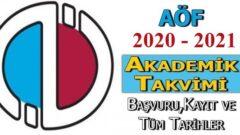 Açıköğretim 2020 – 2021 Akademik Takvimi