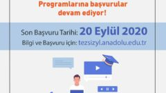 Açıköğretim 2020-2021 Güz Dönemi Yüksek Lisans Başvuruları Başladı