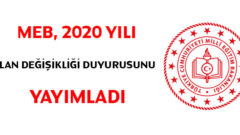 MEB Tarafından 2020 Yılı İçin Alan Değişikliği Duyurusu Yapıldı