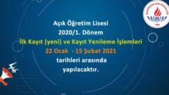 2021 MEB Açıköğretim Lisesi Yeni Kayıt ve Kayıt Yenileme Tarihleri