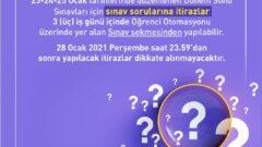 2020-2021 Güz Dönemi Final Sınavı ve Sorulara İtiraz Etme