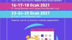 Açıköğretim 2020 – 2021 Güz Dönemi Online Final Sınavı Tarihleri