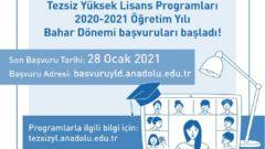 Açıköğretim 2020-2021 Bahar Dönemi Yüksek Lisans Başvuruları Başladı