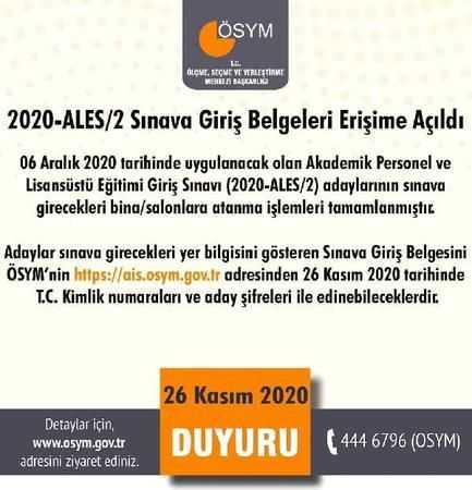 2020 ALES/2 Sınav Giriş Belgeleri Yayımlandı