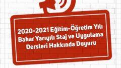 Auzef 2020-2021 Bahar Dönemi Staj ve Uygulama Dersleri