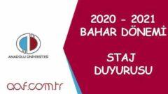 2021 Bahar Dönemi Staj Duyurusu