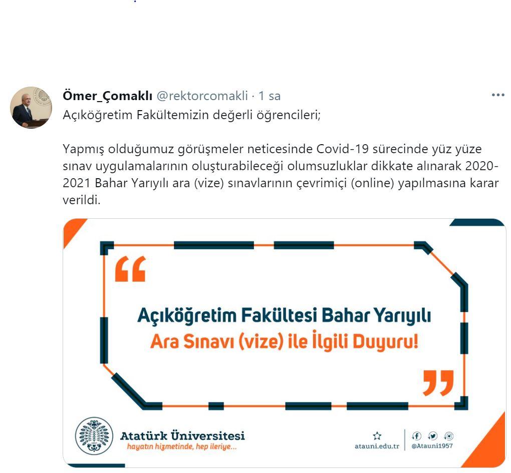 Atatürk Üniversitesi Arasınavları Online Yapılacak