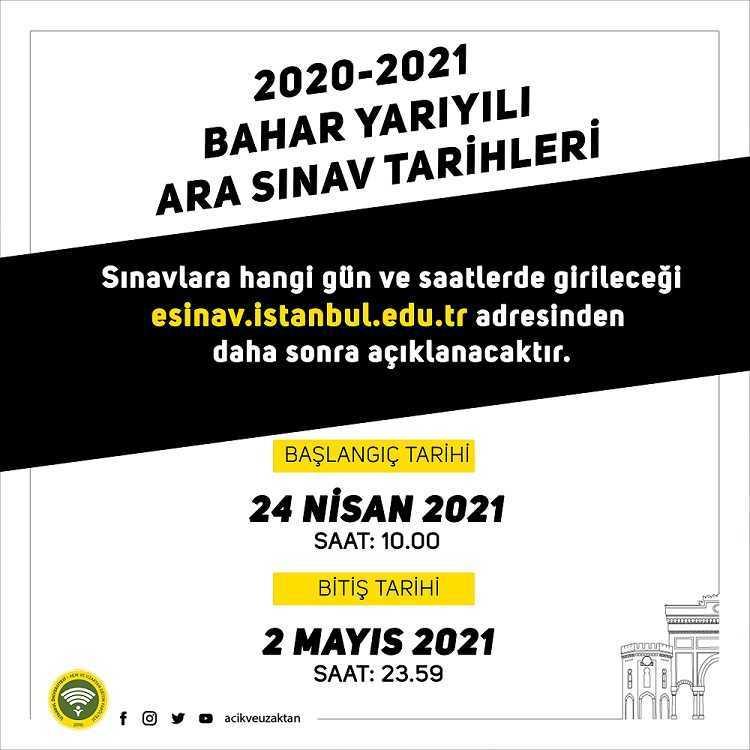 Auzef 2020-2021 Bahar Yarıyılı Ara Sınav Tarihleri