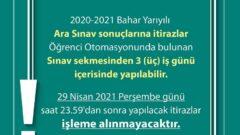 2020-2021 Bahar Dönemi Ara Sınavı Sonuçlarına İtiraz Etme