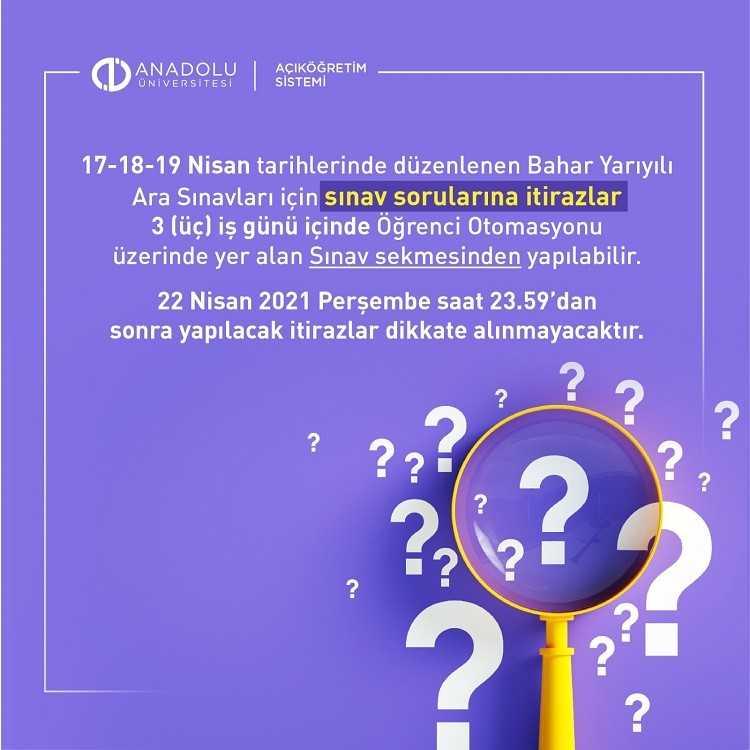 2020-2021 Bahar Dönemi Ara Sınavı ve Sorulara İtiraz Etme