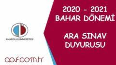 2020-2021 Öğretim Yılı Bahar Dönemi Ara Sınav Duyurusu