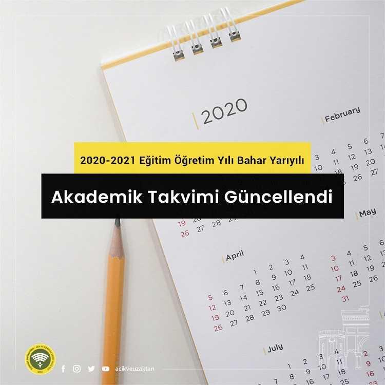 AUZEF 2020-2021 Bahar Dönemi Akademik Takvimi
