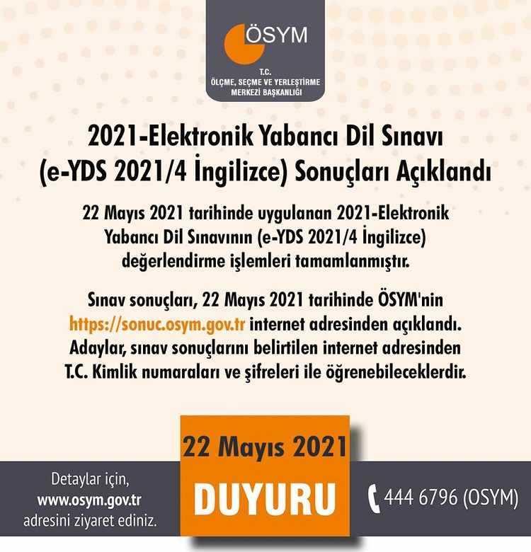 e-YDS 2021-4 Sınav Sonuçları