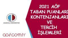 2021 Aöf Taban Puanları, Kontenjanlar ve Açıköğretim Tercihleri