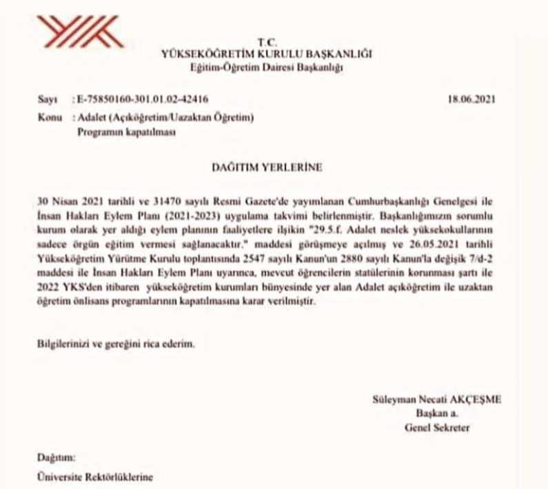 Açıköğretim Adalet Bölümü Kapatıldı