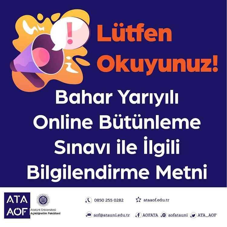 Ata Aof Online Bütünleme Sınavı 2021