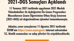 2021 DGS Sonuçları Açıklandı