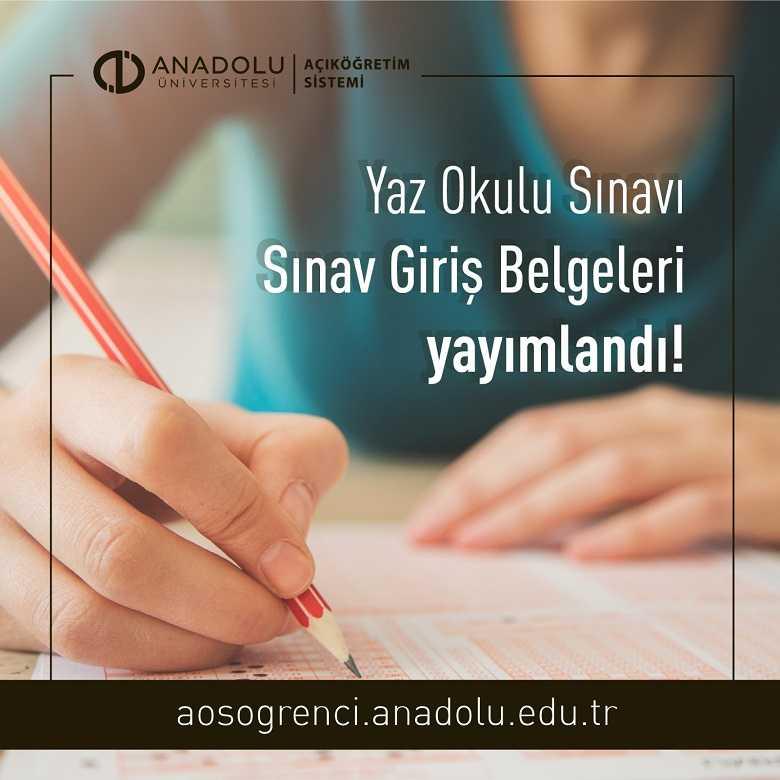 2021 Yaz Okulu Sınav Giriş Belgeleri Yayımlandı