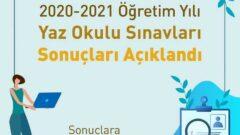 2021 Yaz Okulu Sınav Sonuçları Açıklandı