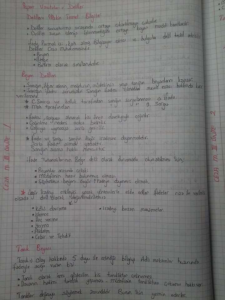 eza Muhakemesi Hukuku - Ünite 3 Ders Notları