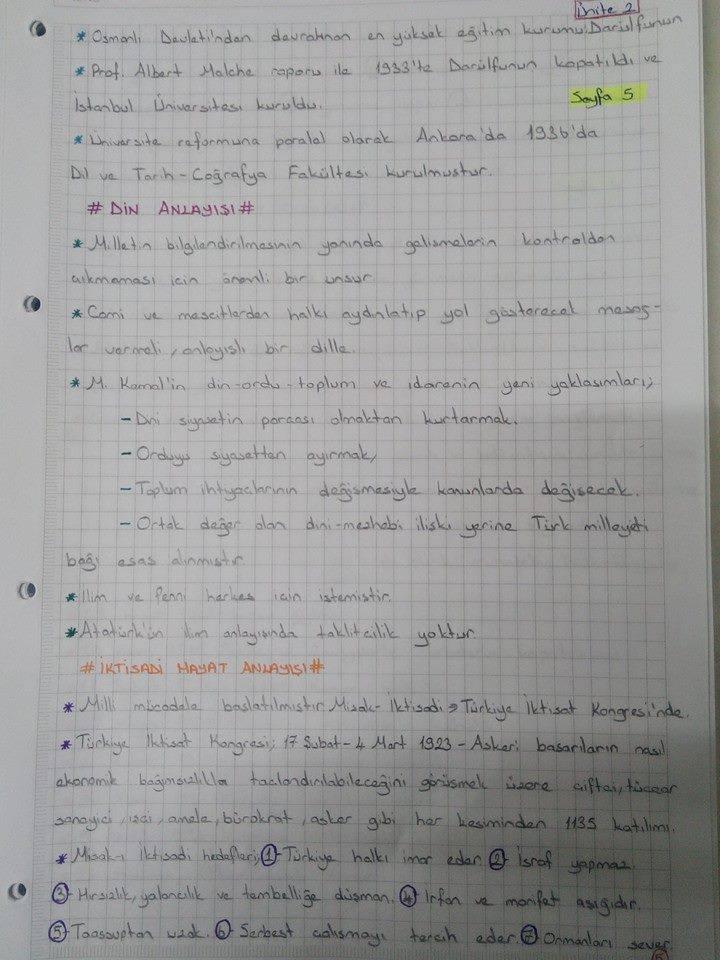 İnkılap Tarihi 2 Ünite 1 - 2 Ders Notları