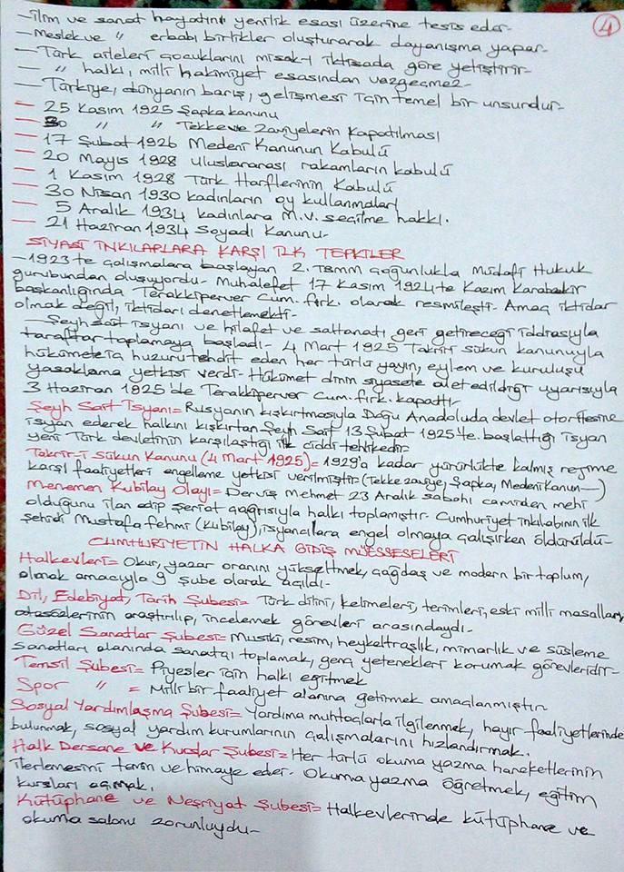 Atatürk İlkeleri ve İnkılap Tarihi 2 - Ünite 1 - 4 Ders Notları
