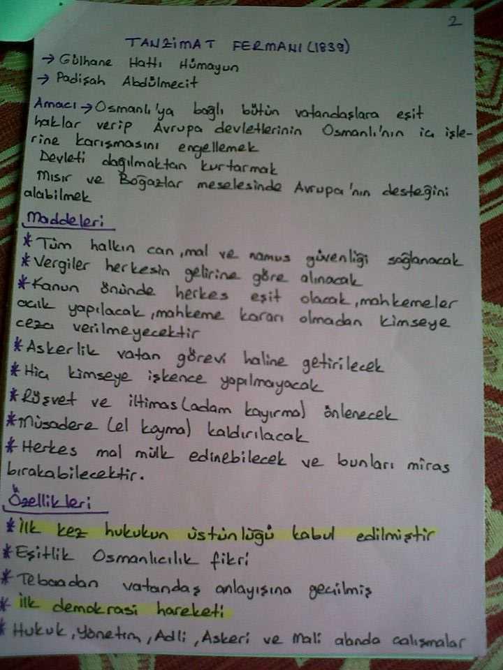 Atatürk İlkeleri ve İnkılap Tarihi - Islahat ve Tanzimat Fermanı Ders Notları