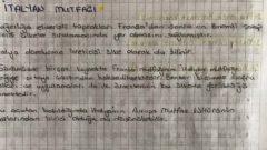 Dünya Mutfakları – Ünite 2 – İtalyan Mutfağı Ders Notları