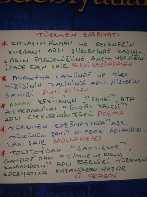 Çağdaş Türk Edebiyatı - Türkmen Edebiyatı Ders Notları