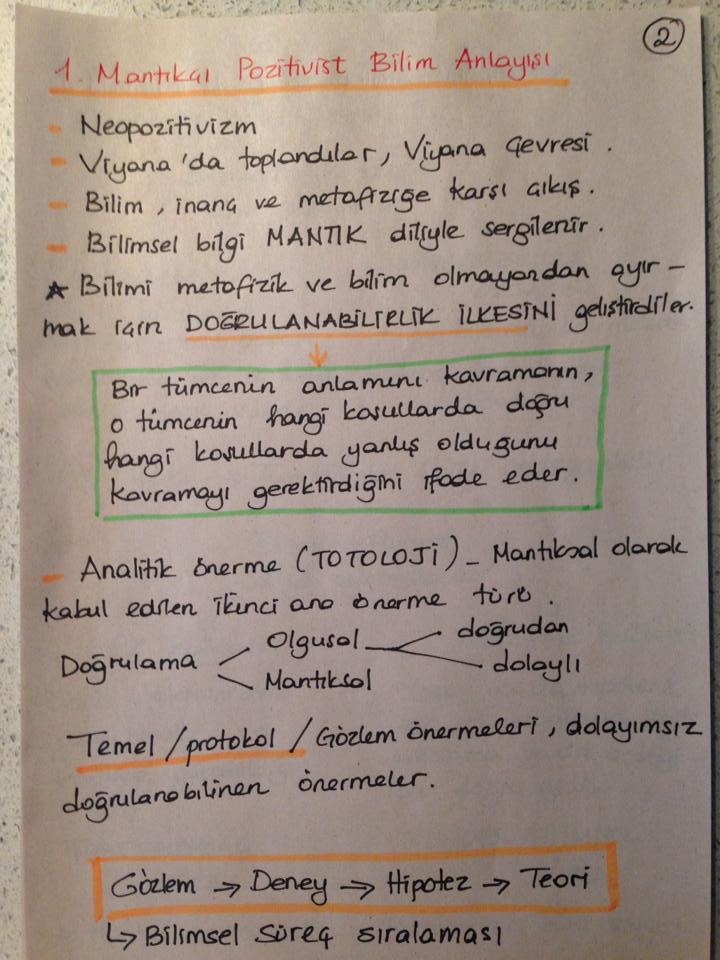 Bilim Felsefesi - Ünite 4 Ders Notları