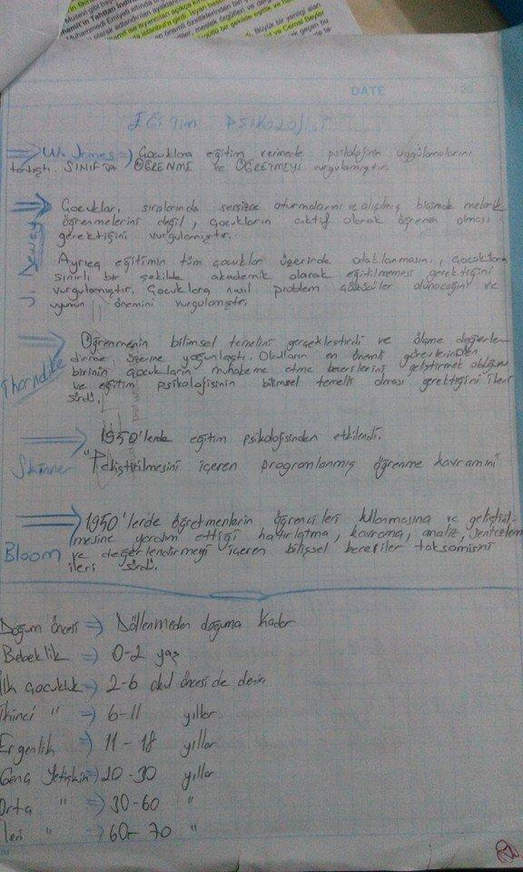 Eğitim Psikolojisi Ders Notları