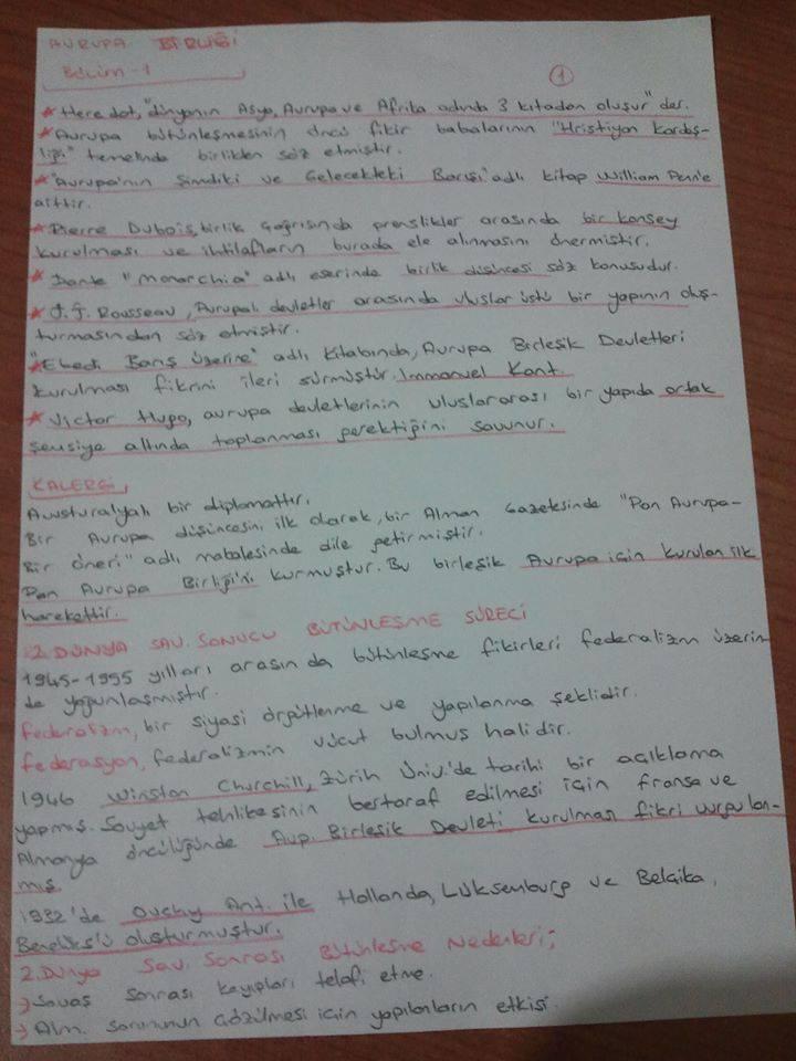 Avrupa Birliği ve Türkiye İlişkileriÜnite 1-2 Ders Notları